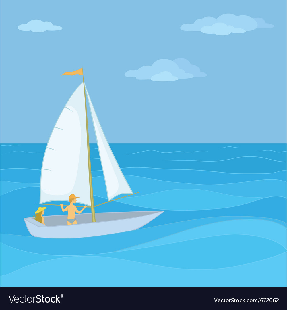Sailing boat in the sea vector | Price: 1 Credit (USD $1)