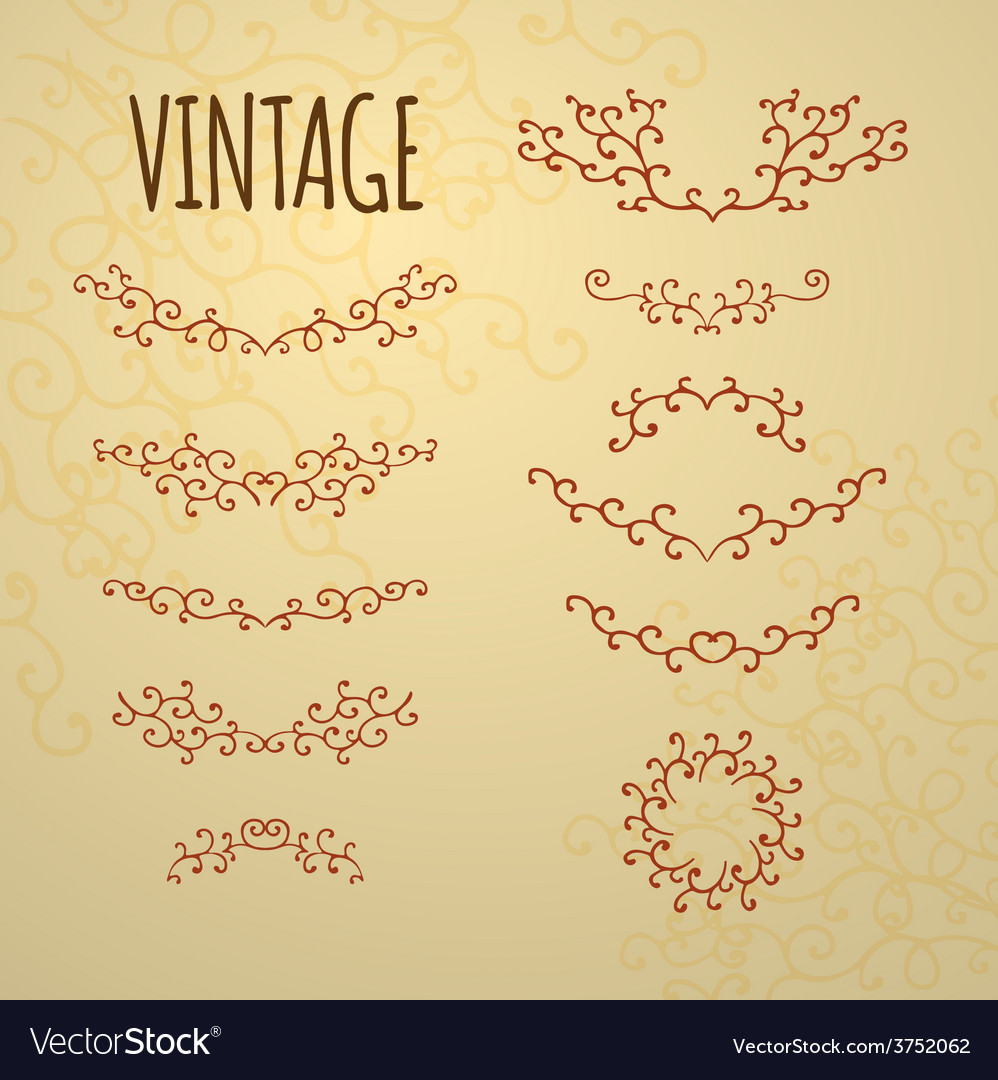 Set of vintage ornaments for design of cards invit vector | Price: 1 Credit (USD $1)