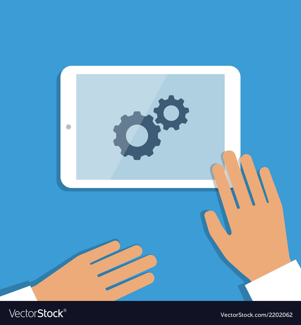 Tablet pc in process and human hands vector | Price: 1 Credit (USD $1)