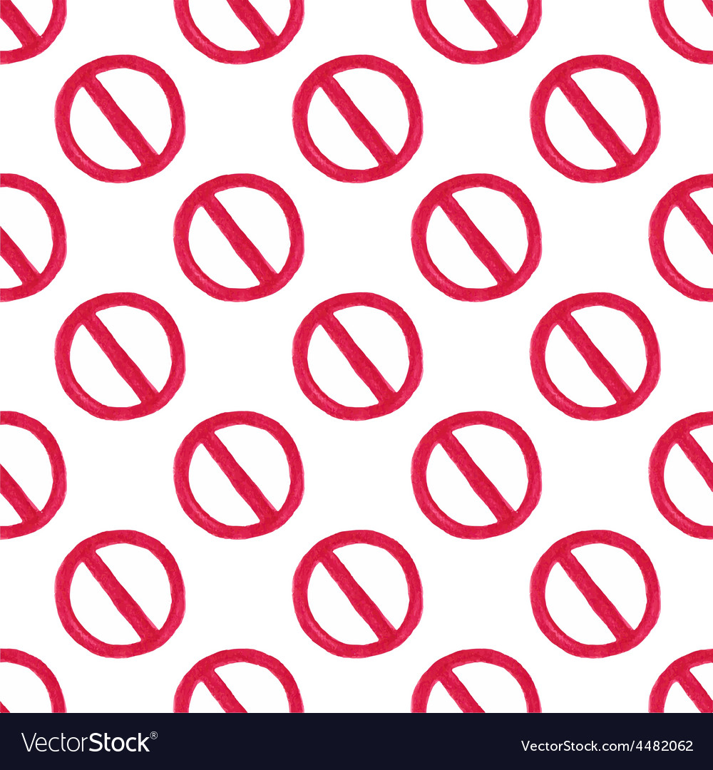 Watercolor seamless pattern with restriction sign vector | Price: 1 Credit (USD $1)