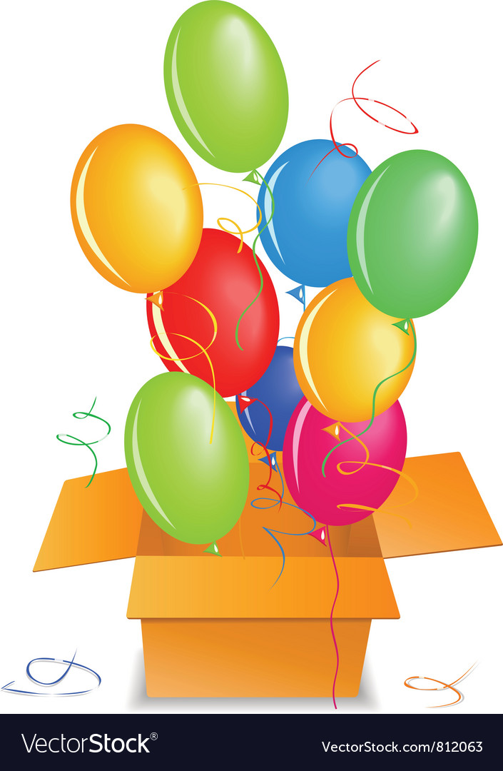 Balloons out of the box up in the air vector | Price: 1 Credit (USD $1)