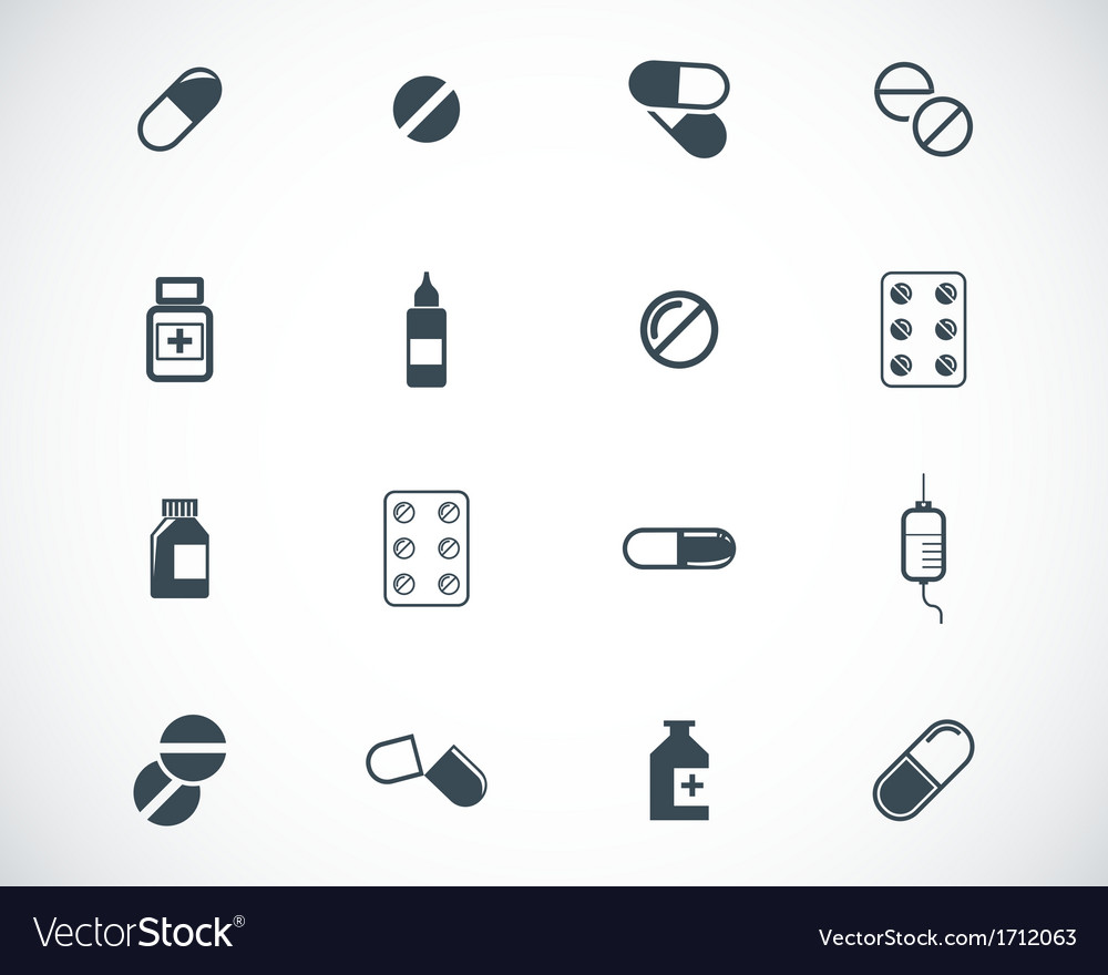 Black pills icon set vector | Price: 1 Credit (USD $1)