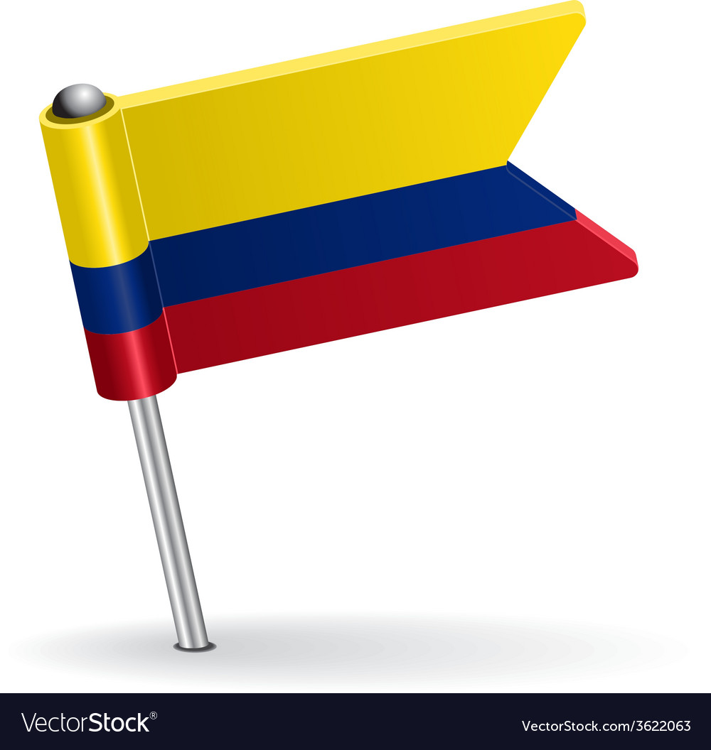 Colombia pin icon flag vector | Price: 1 Credit (USD $1)