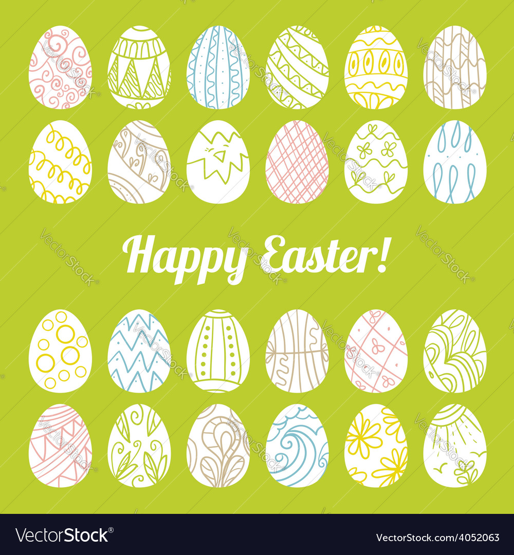 Decorative card with easter eggs vector | Price: 1 Credit (USD $1)