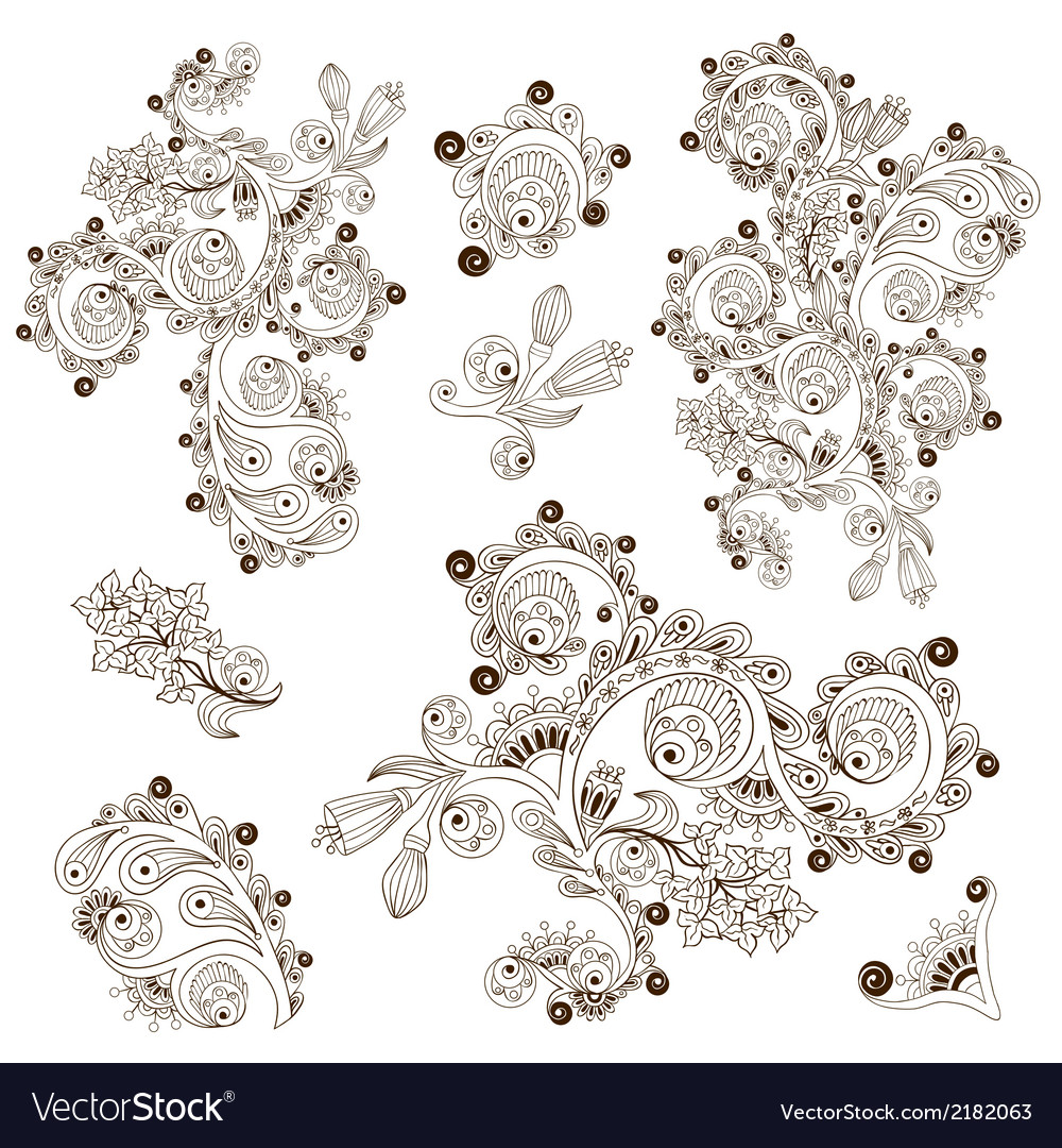 Flower pattern engraving scroll motif for card vector | Price: 1 Credit (USD $1)