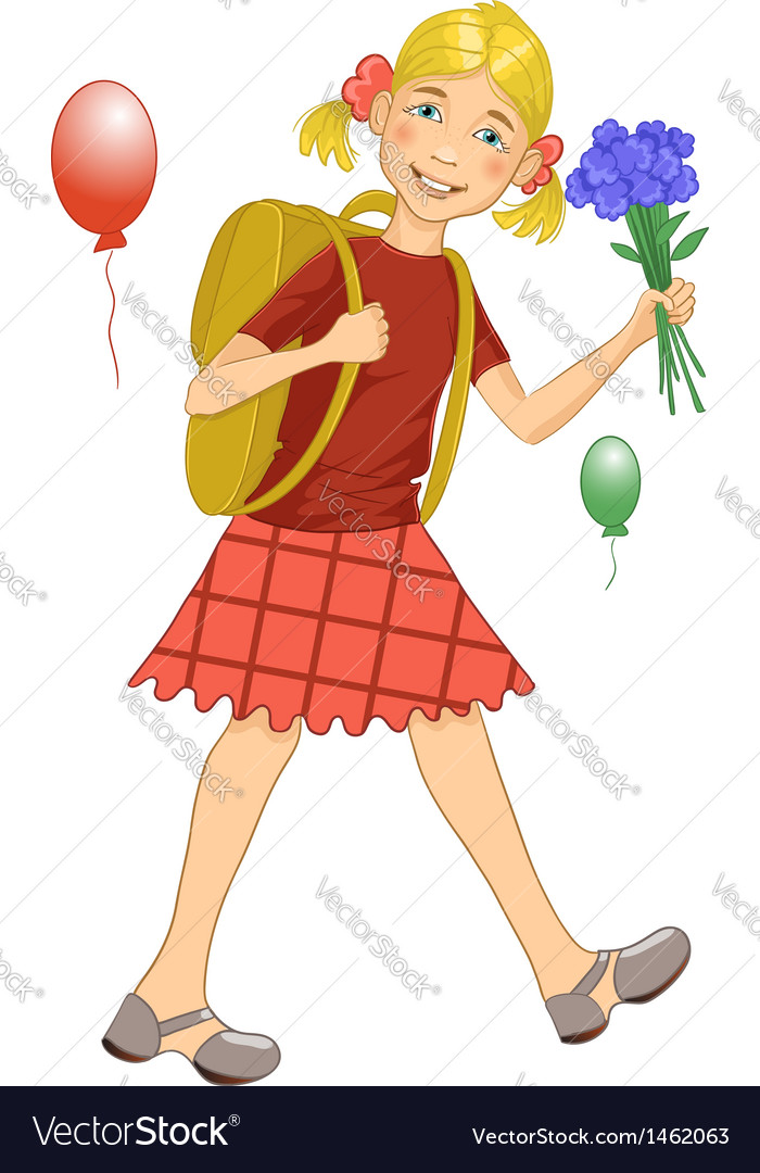 Girl on his way to school vector | Price: 1 Credit (USD $1)