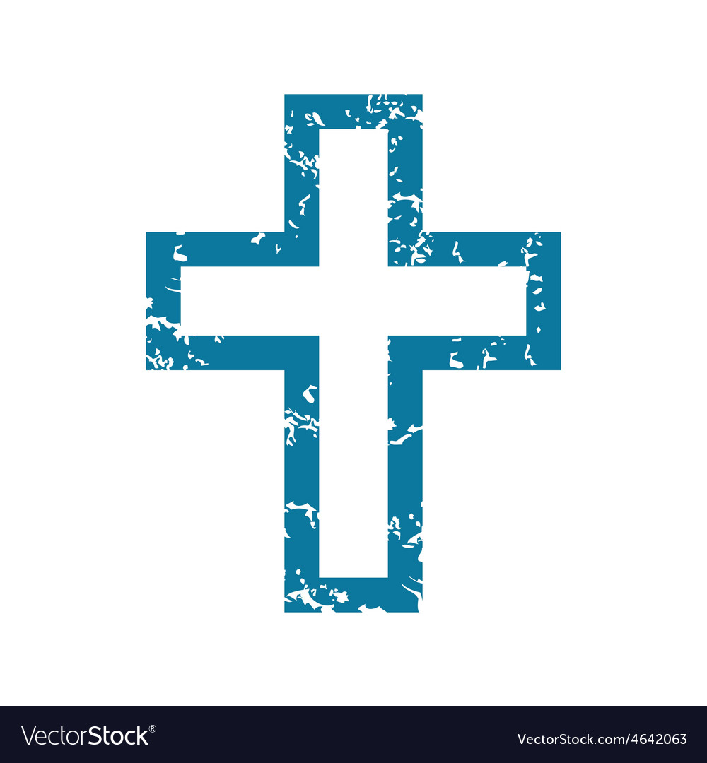Grunge christian cross icon vector | Price: 1 Credit (USD $1)