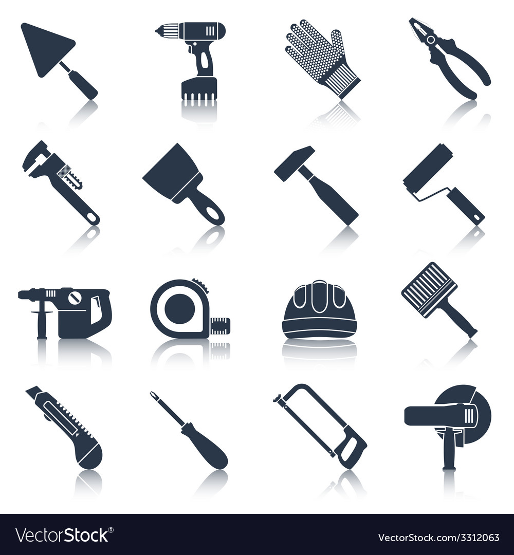 Repair construction tools black vector | Price: 1 Credit (USD $1)