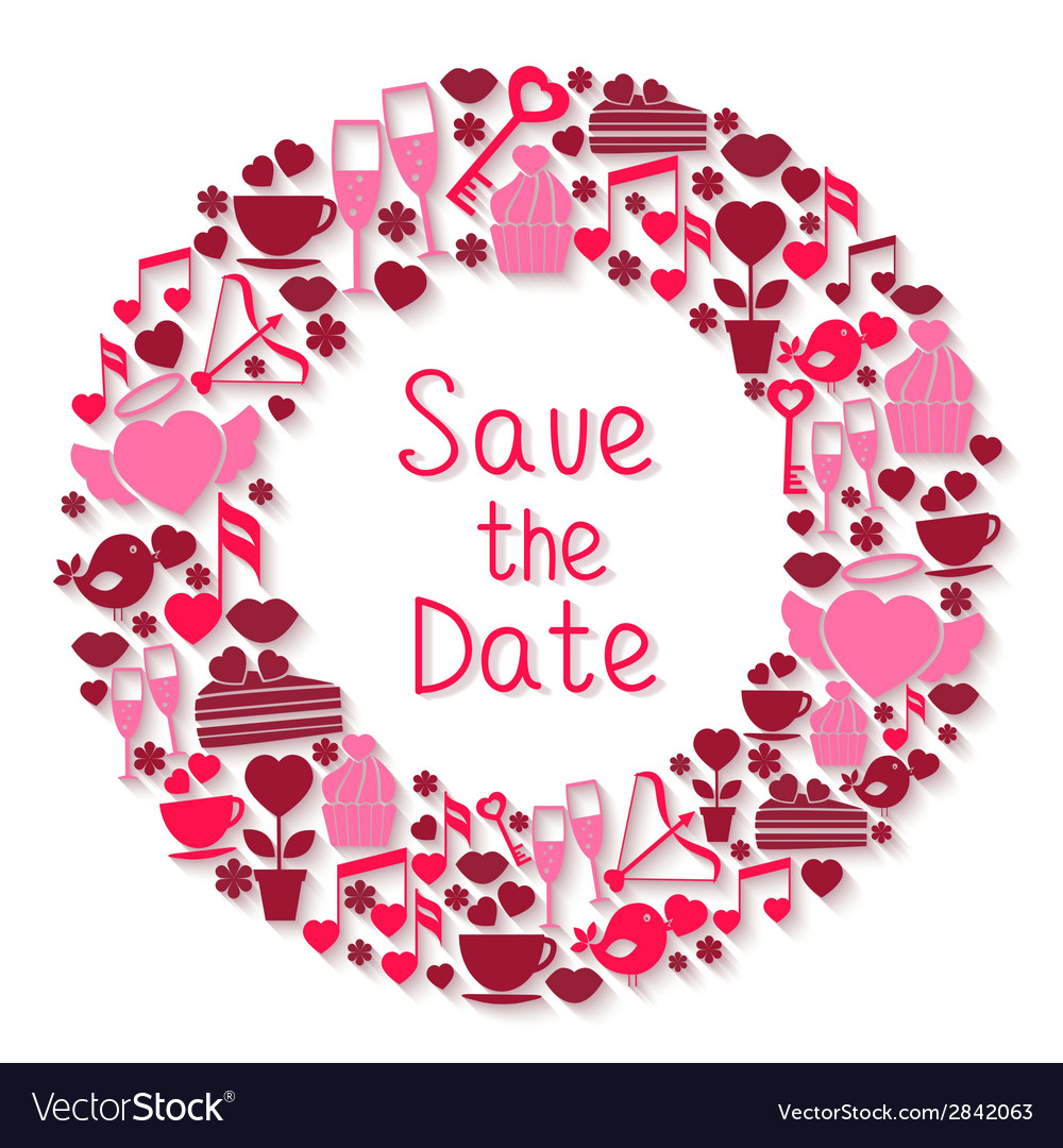 Save the date romantic circular symbol vector | Price: 1 Credit (USD $1)