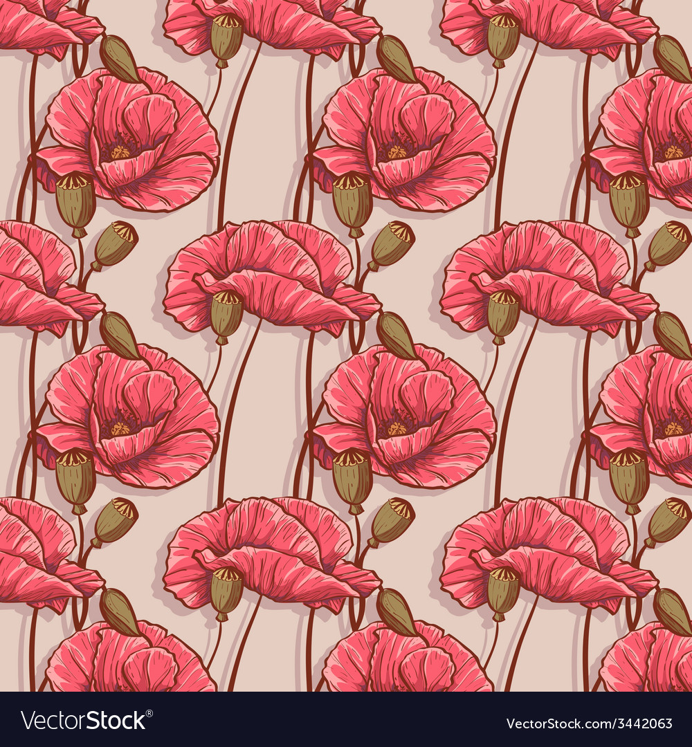 Seamless background with flowers poppies vector | Price: 1 Credit (USD $1)