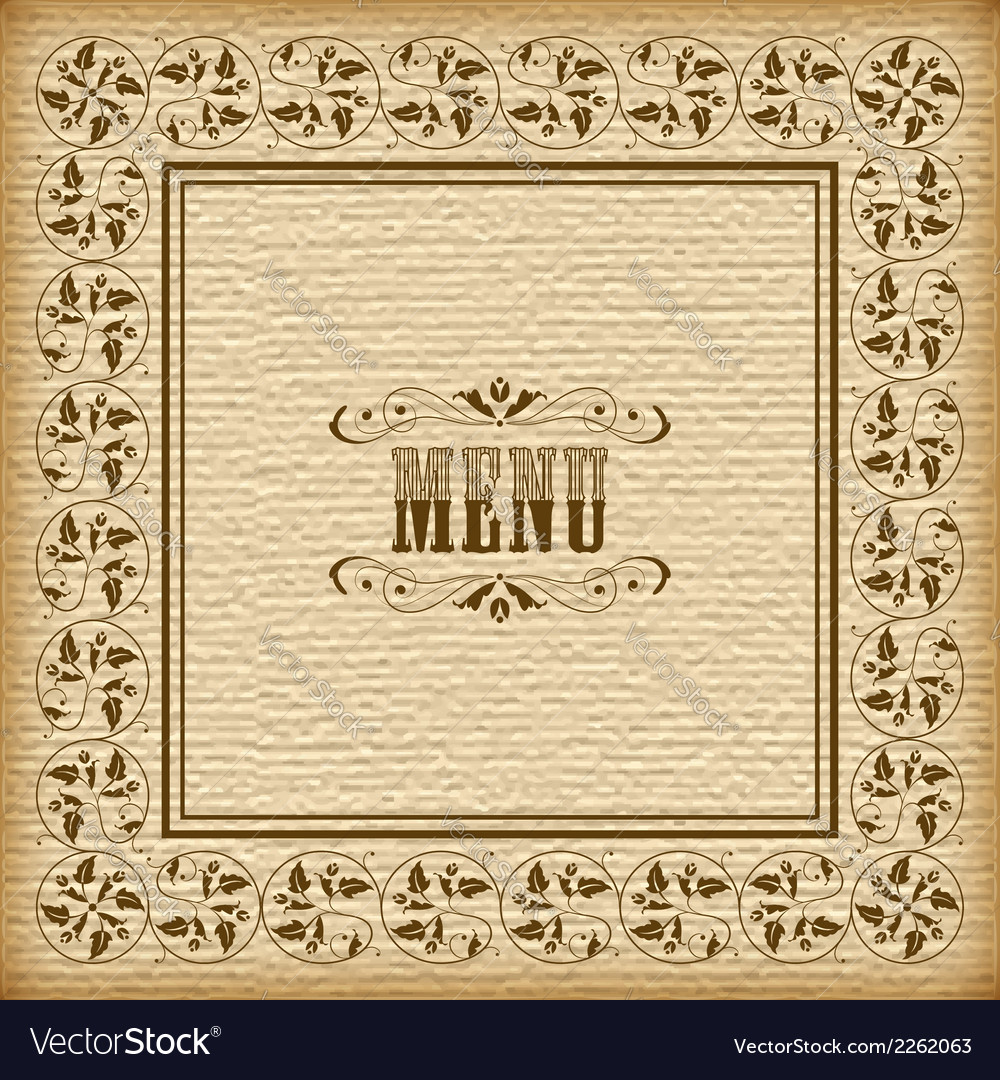 Vintage border frame menu vector | Price: 1 Credit (USD $1)