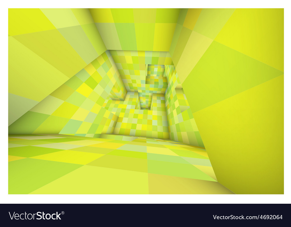 3d futuristic labyrinth green shaded interior vector | Price: 1 Credit (USD $1)