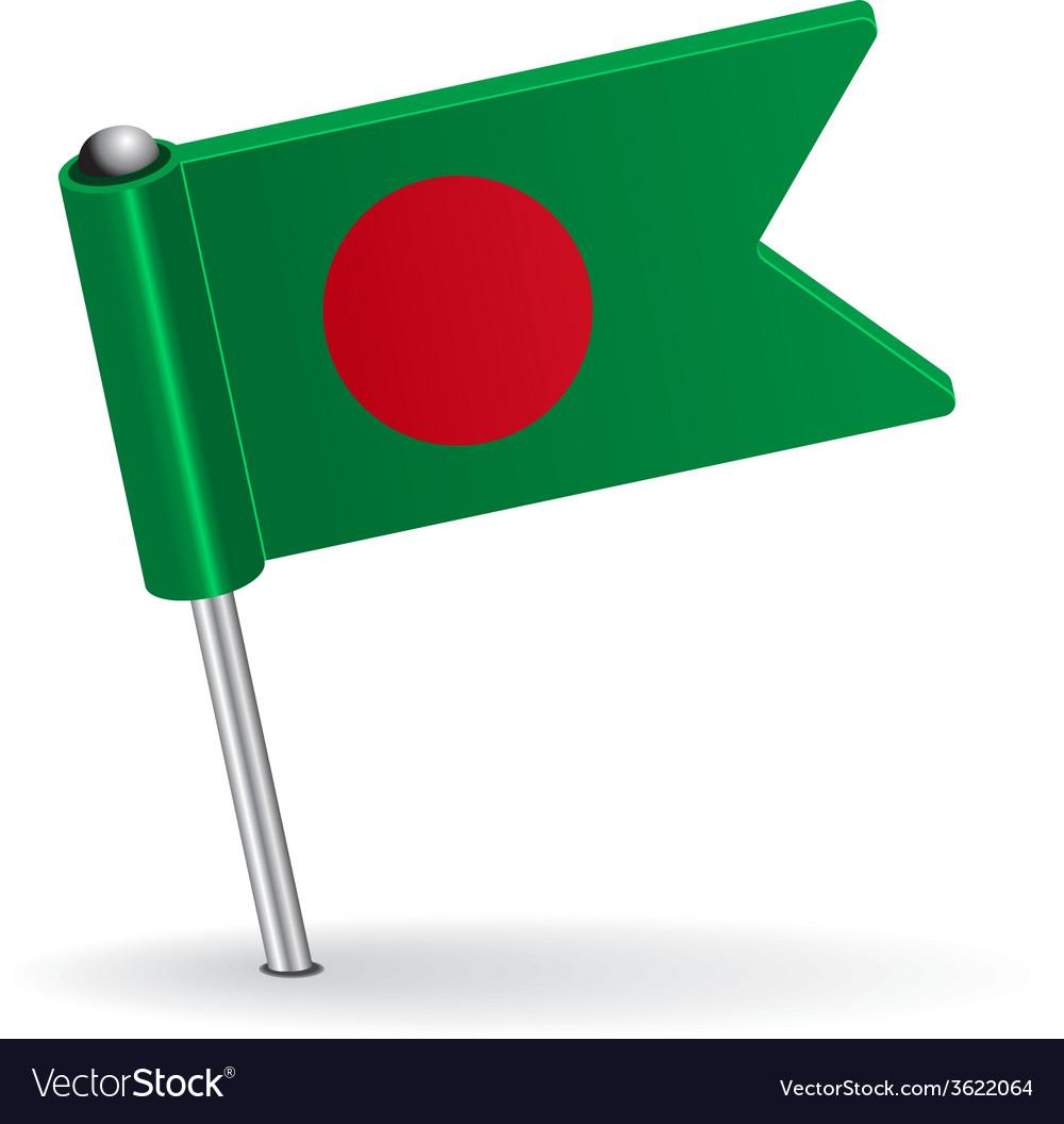Bangladesh pin icon flag vector | Price: 1 Credit (USD $1)
