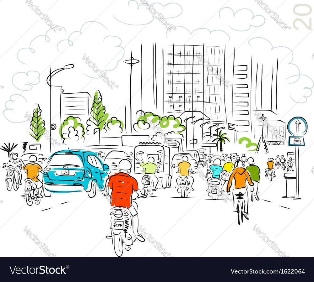 Calendar 2014 sketch of traffic road in asian city vector | Price: 1 Credit (USD $1)