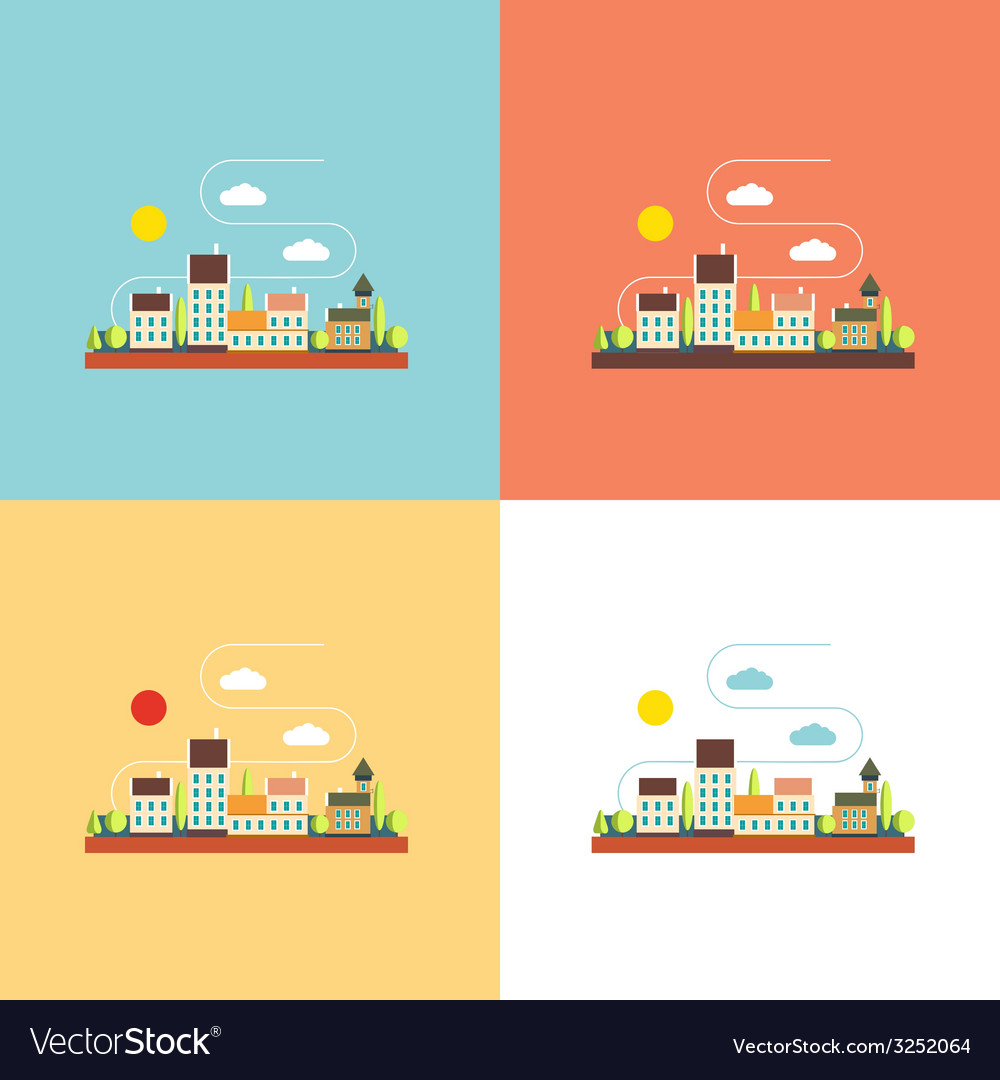 Color flat contours of the urban landscape vector   Price: 1 Credit (USD $1)