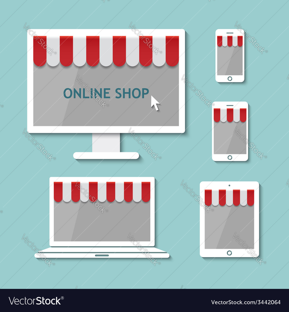 Computer laptop tablet and smart phone online shop vector | Price: 1 Credit (USD $1)