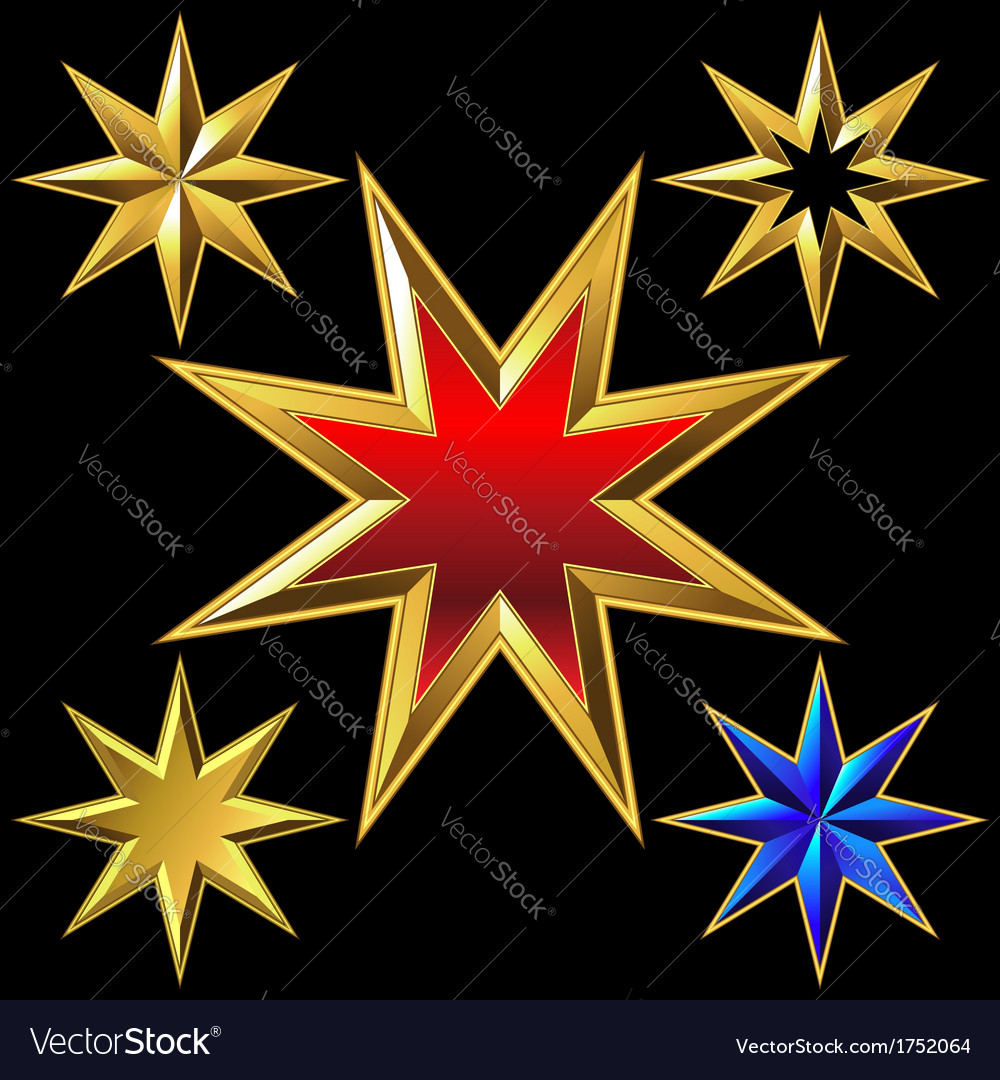 Gold eight-pointed stars vector | Price: 1 Credit (USD $1)