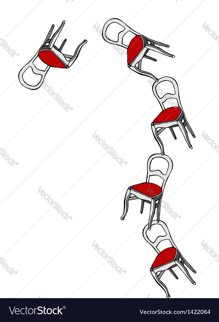 Juggling chairs loosing balance vector | Price: 1 Credit (USD $1)
