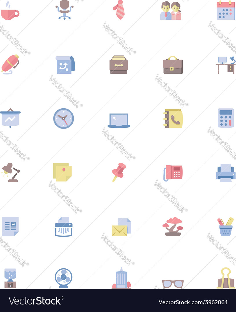 Office icon set vector | Price: 1 Credit (USD $1)