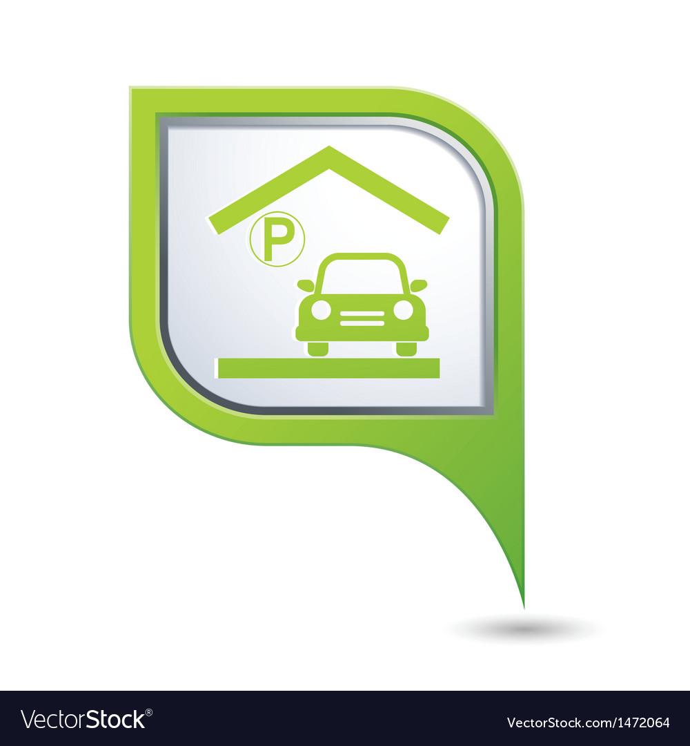 Parking under roof icon on green map pointer vector | Price: 1 Credit (USD $1)