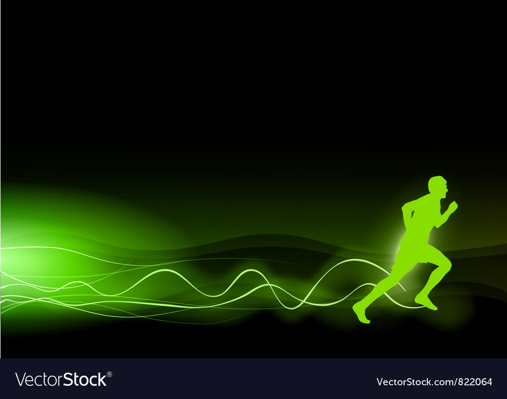 Runner as rays green vector | Price: 1 Credit (USD $1)