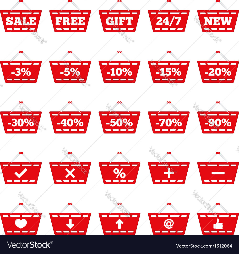 Shopping basket icons vector | Price: 1 Credit (USD $1)
