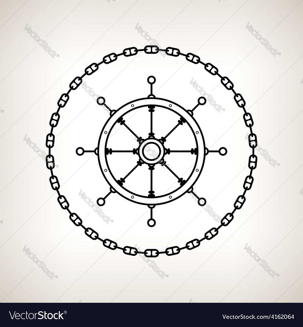 Silhouette ships wheel and chain vector   Price: 1 Credit (USD $1)