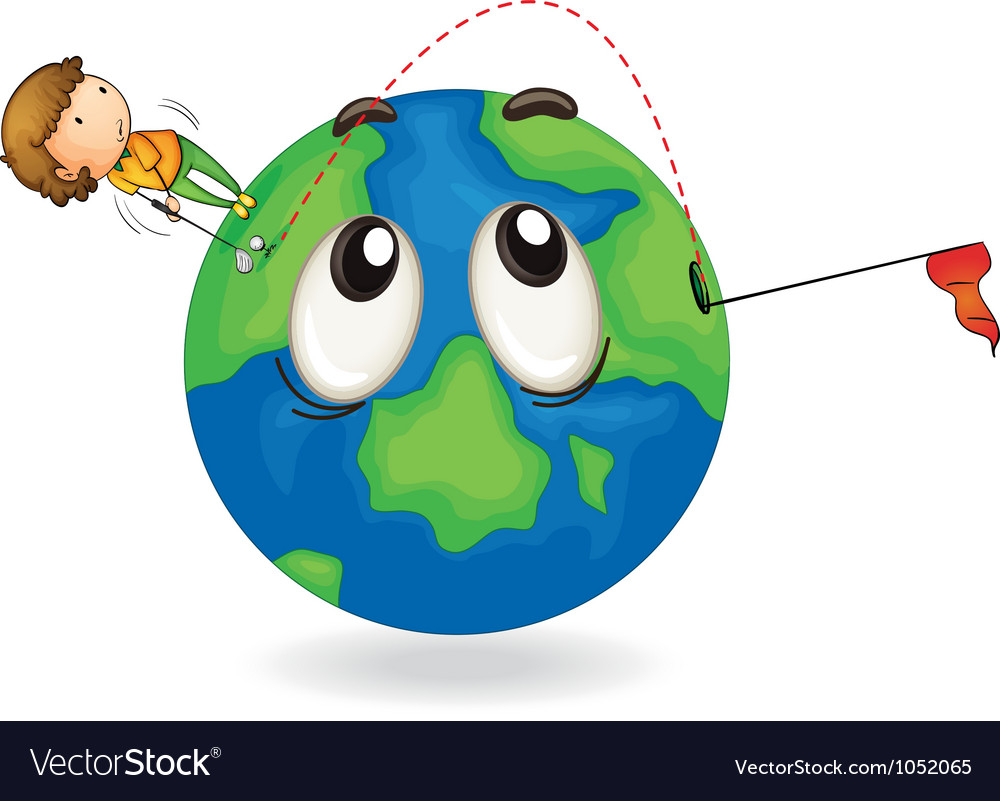 Boy on earth planet vector