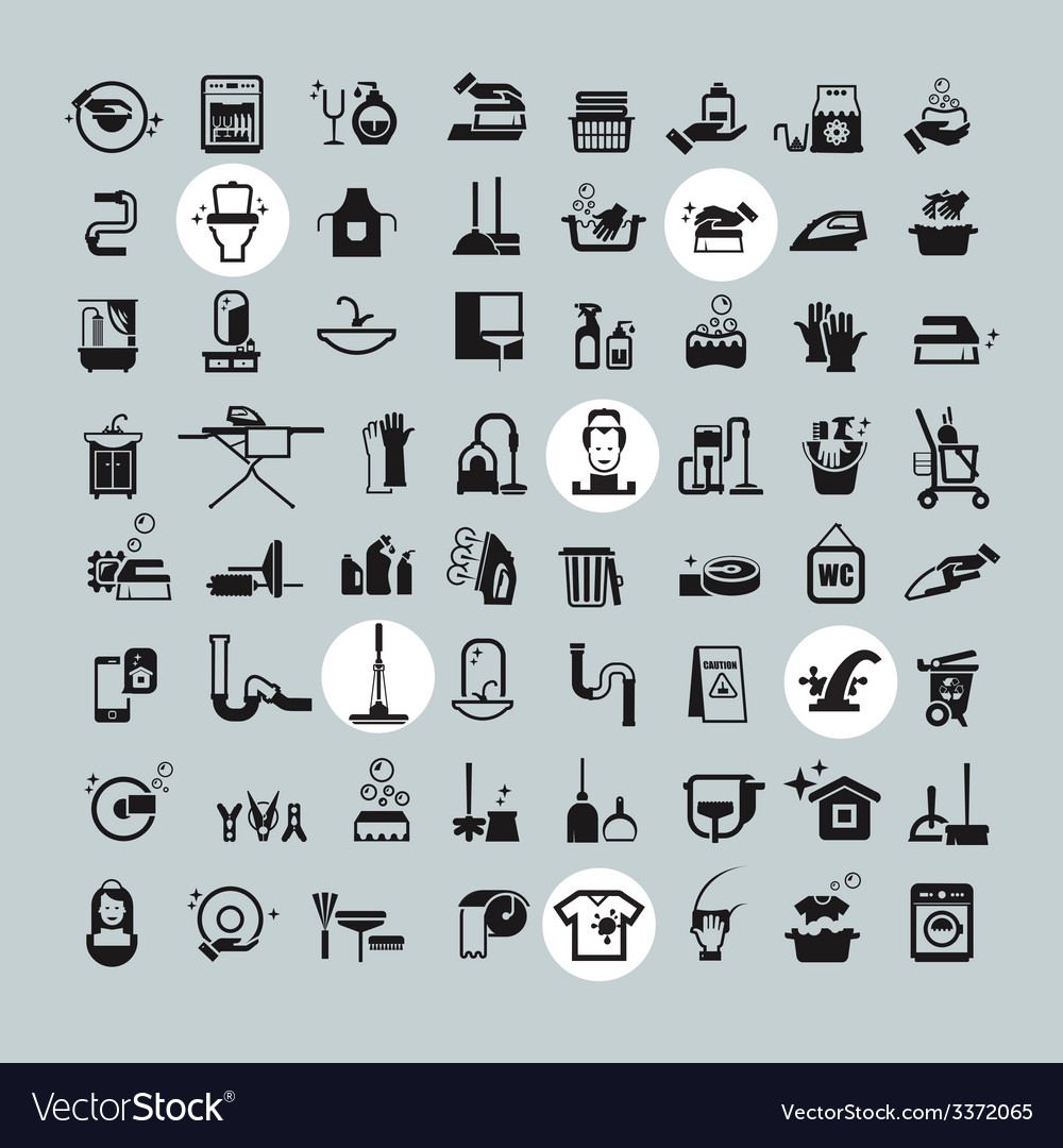 Cleaning tools icons black cleaning icons set vector | Price: 3 Credit (USD $3)