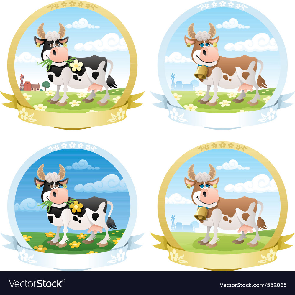 Dairy products labels vector | Price: 1 Credit (USD $1)
