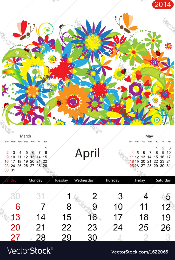 Floral calendar 2014 april vector | Price: 1 Credit (USD $1)