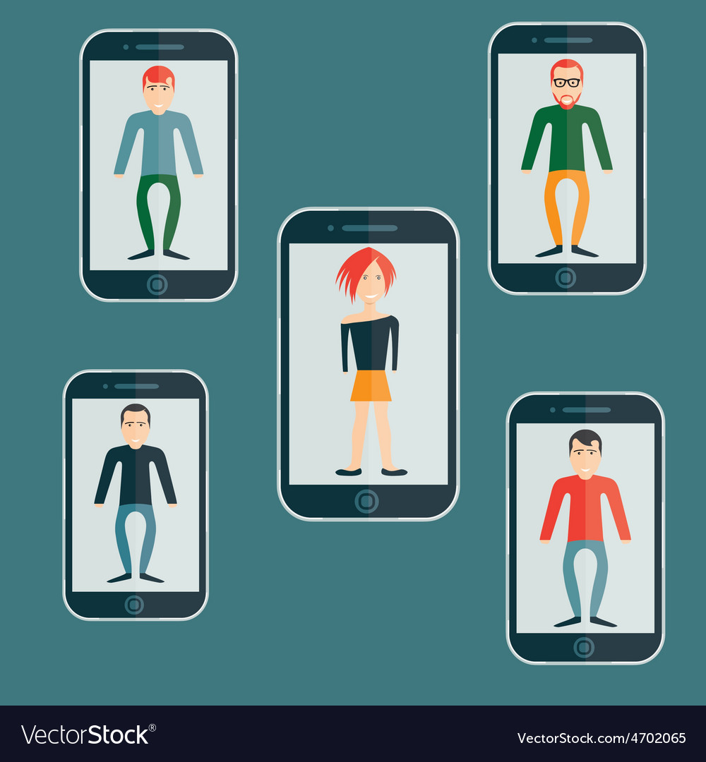 Four guys and girl flat design smartphone vector | Price: 1 Credit (USD $1)