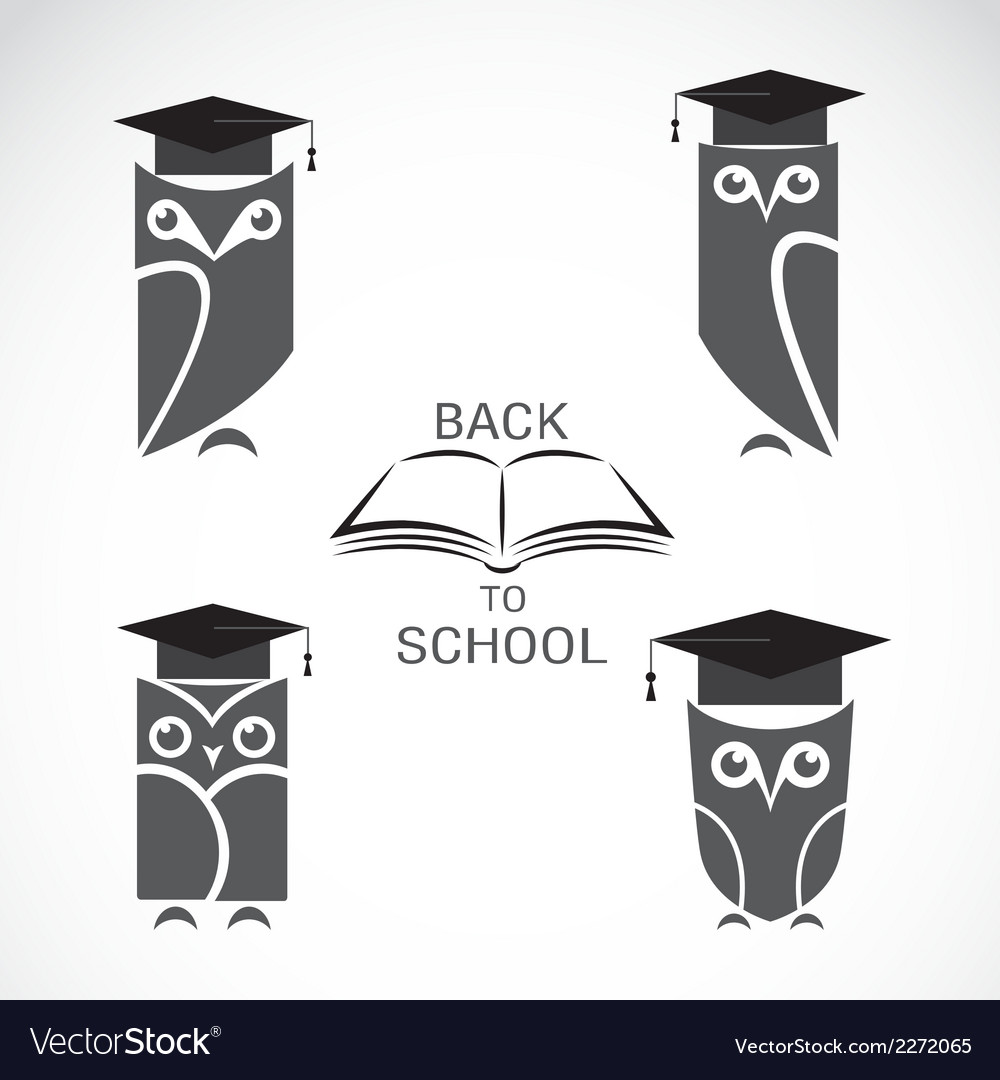 Image of an owl with college hat and book vector | Price: 1 Credit (USD $1)