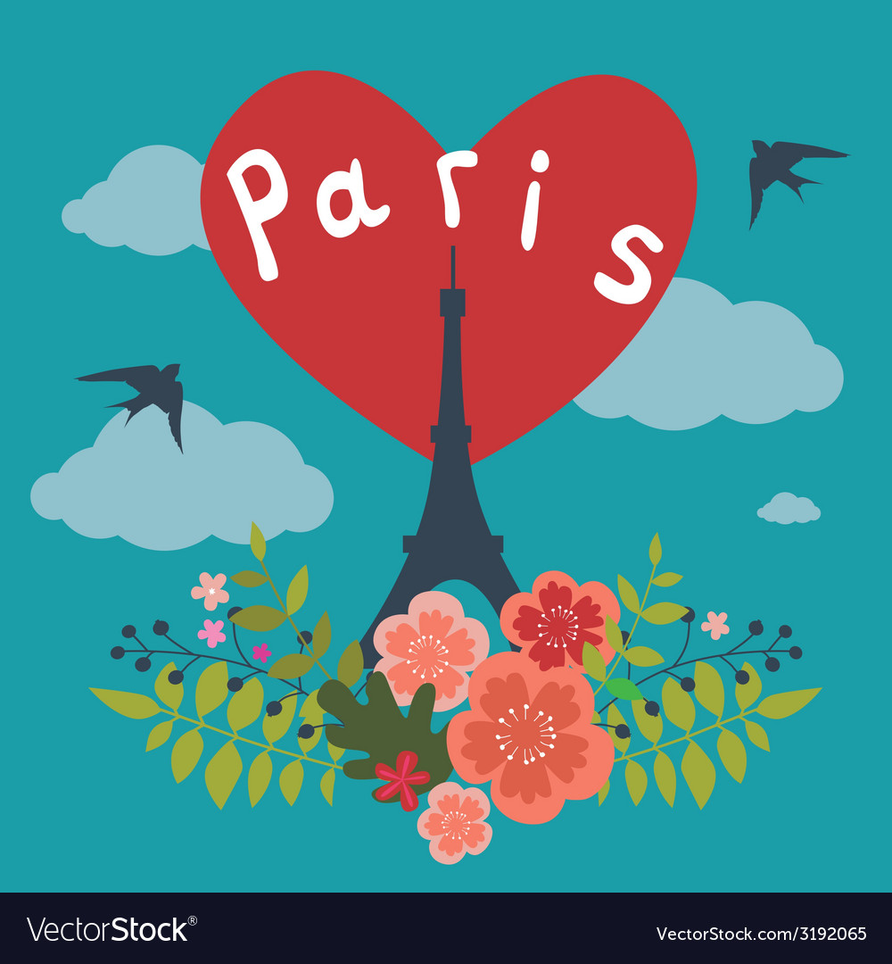 Romantic design with eiffel tower in paris vector | Price: 1 Credit (USD $1)