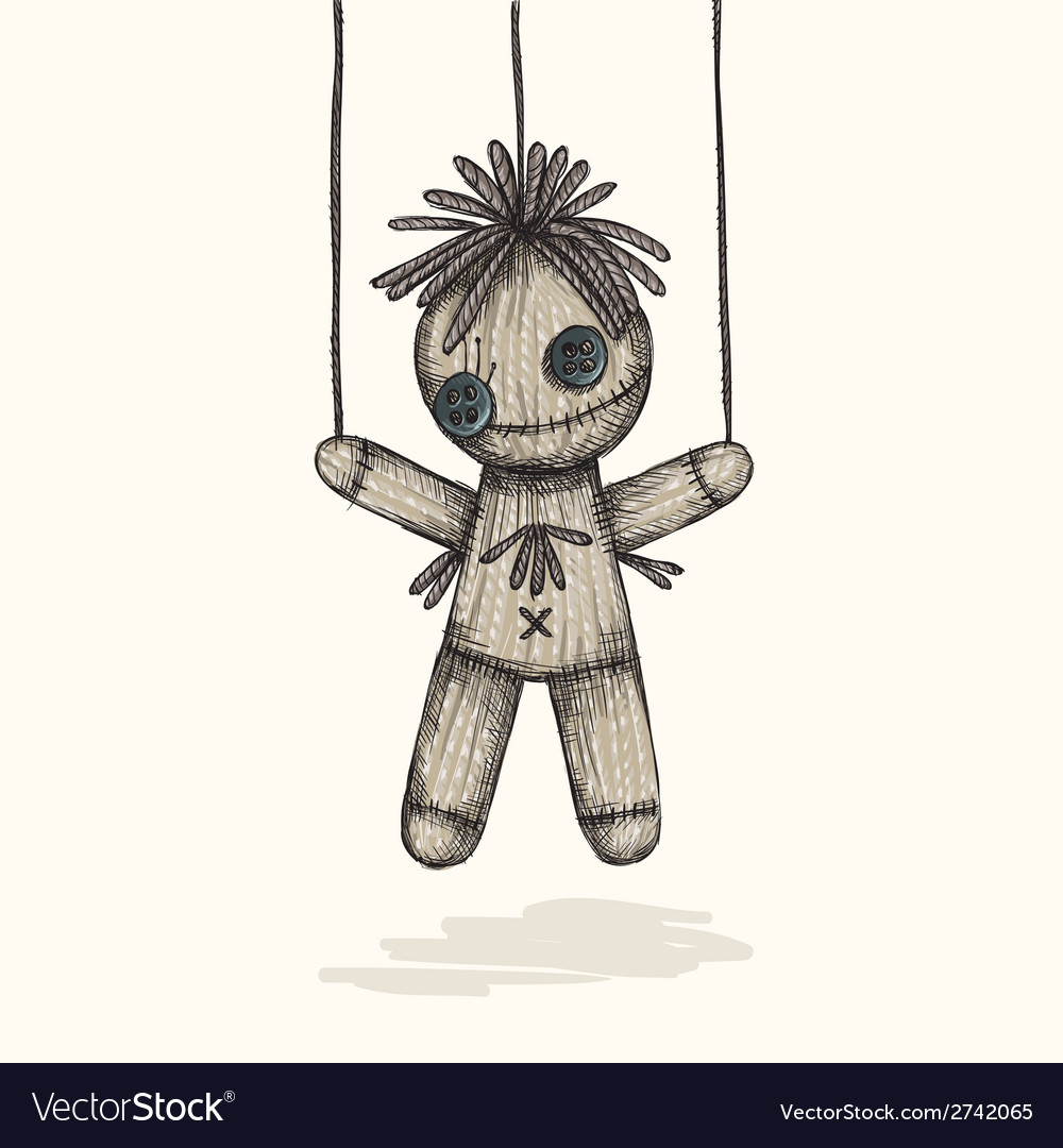 Spooky voodoo doll in a sketch style vector | Price: 1 Credit (USD $1)