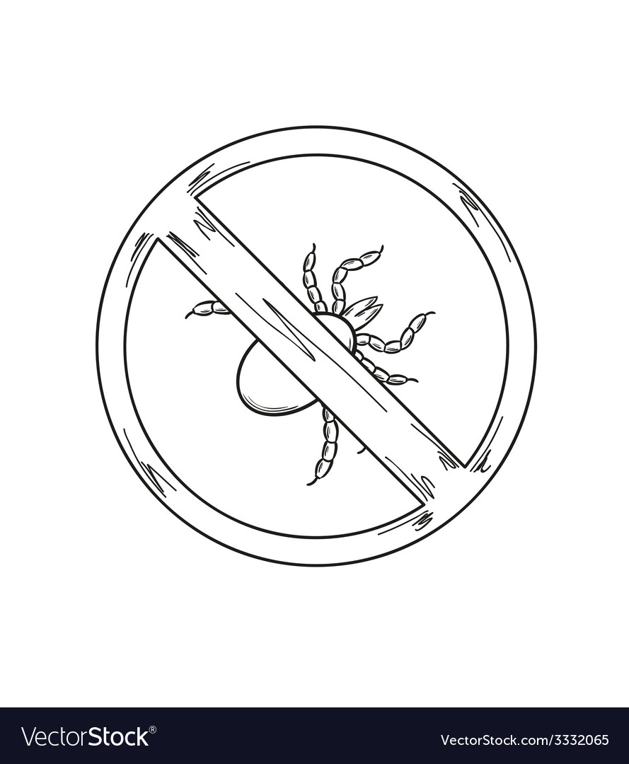 Warning sign of the tick sketch vector | Price: 1 Credit (USD $1)