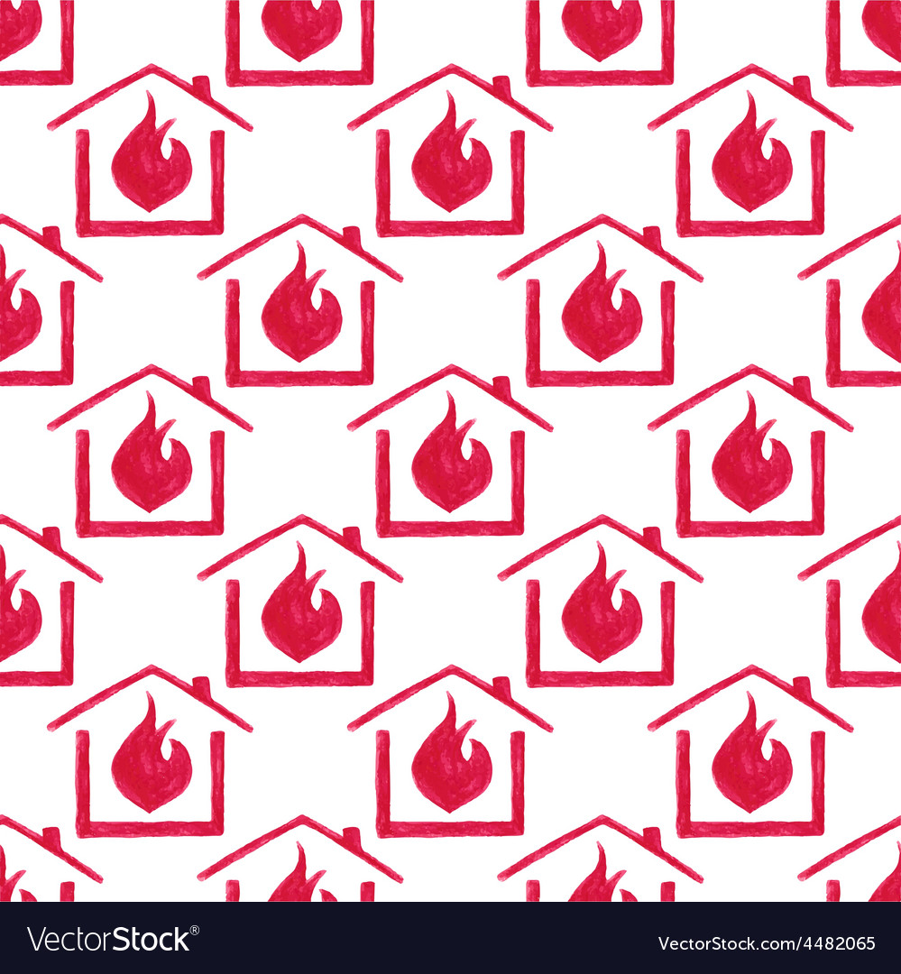 Watercolor seamless pattern with house in fire on vector | Price: 1 Credit (USD $1)