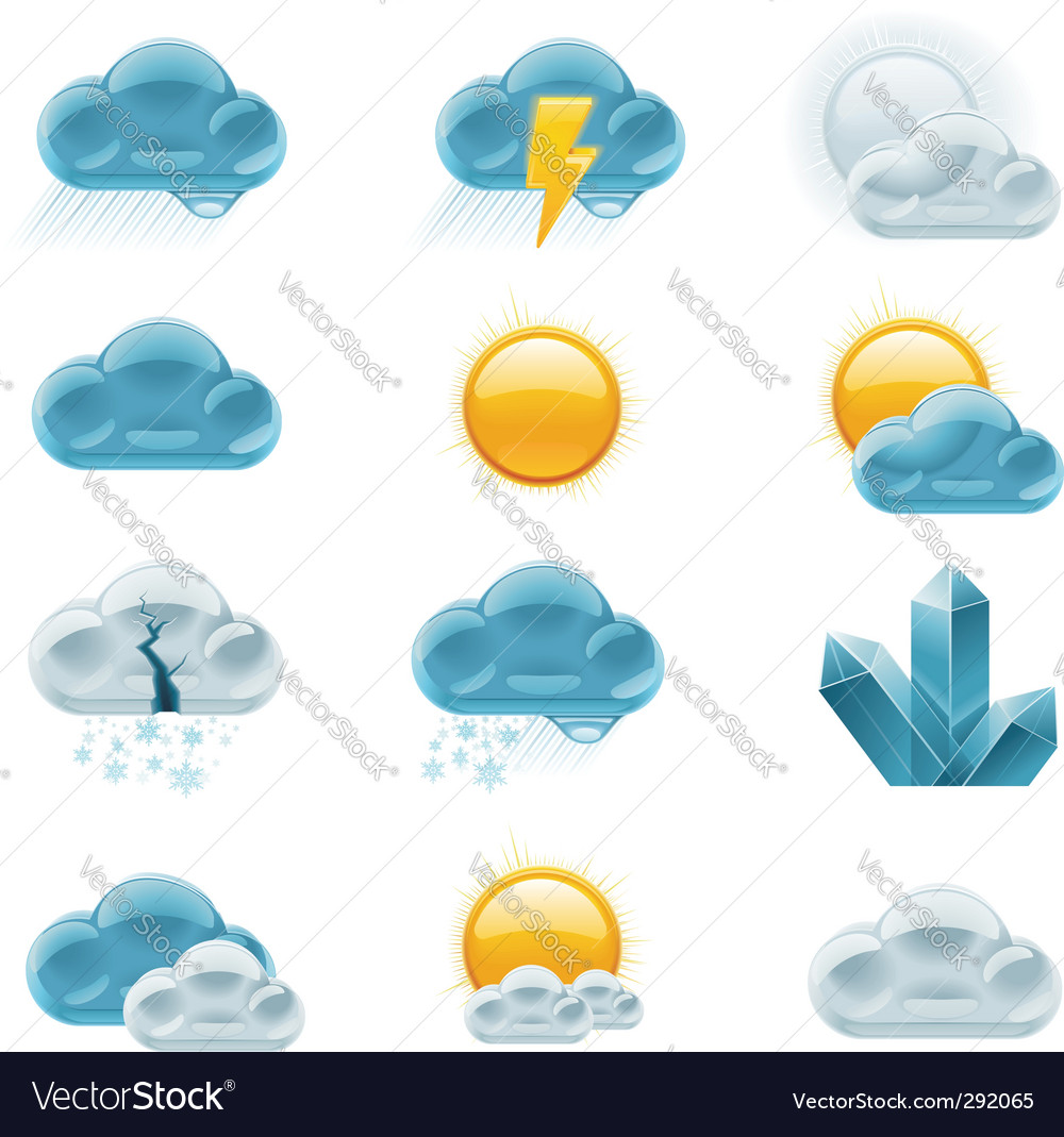 Weather forecast icons day vector | Price: 3 Credit (USD $3)