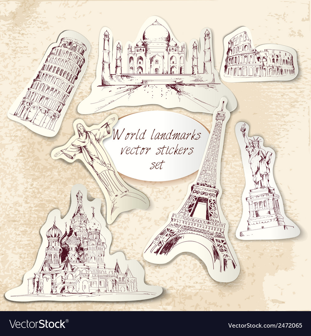 World landmark stickers vector | Price: 1 Credit (USD $1)