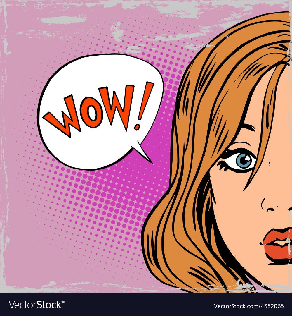 Wow surprise girls pop art comics retro style vector | Price: 3 Credit (USD $3)