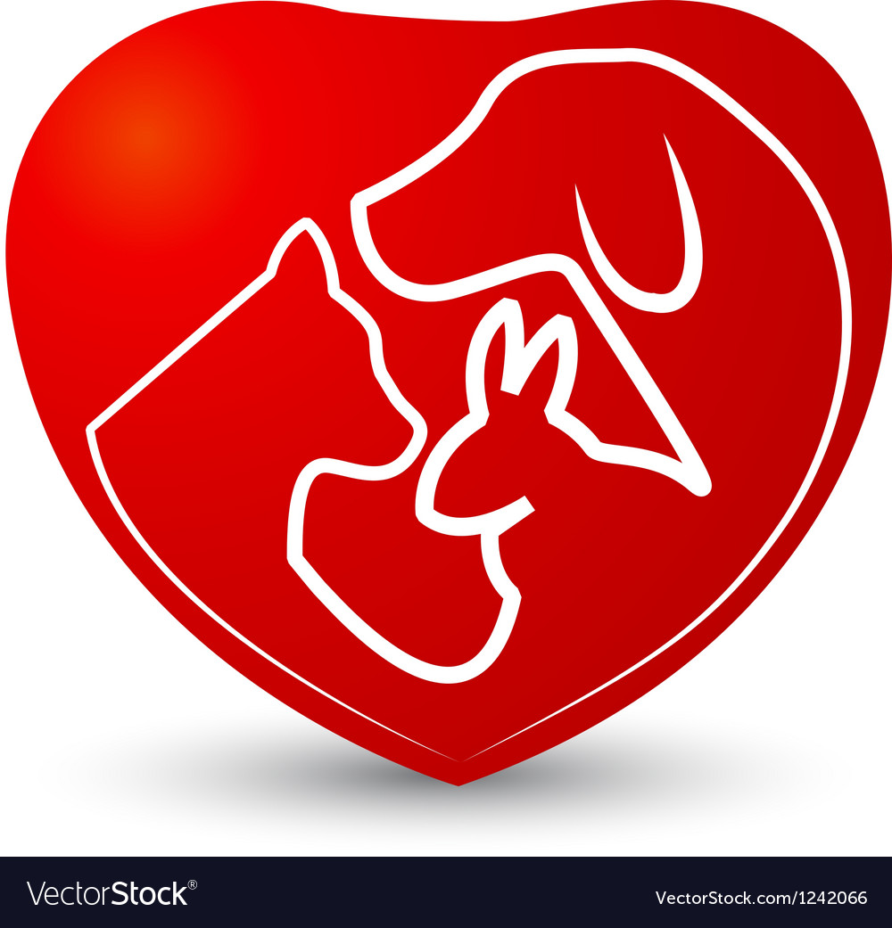 Cat dog and rabbit in a heart vector | Price: 1 Credit (USD $1)