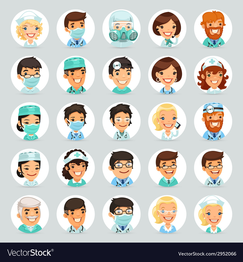 Doctors cartoon characters icons set2 vector | Price: 1 Credit (USD $1)