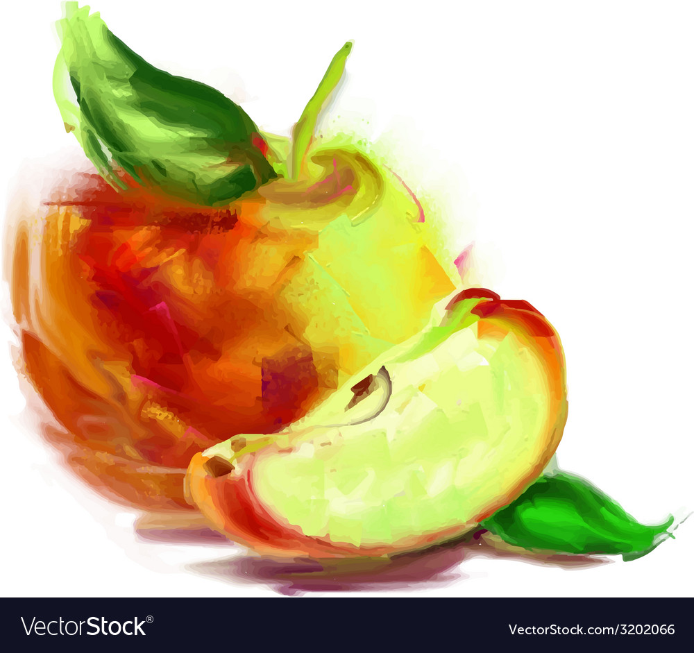Drawing apple with a slice vector   Price: 1 Credit (USD $1)