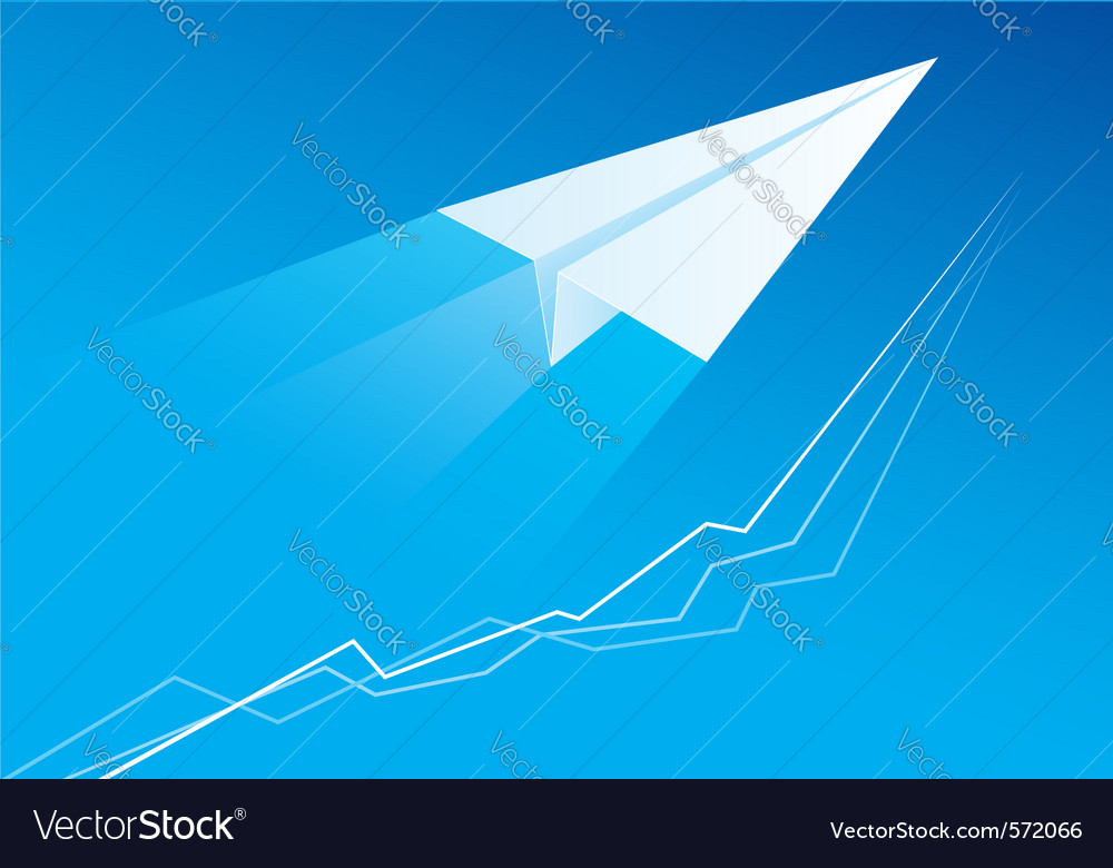 Flying paper airplane vector | Price: 1 Credit (USD $1)