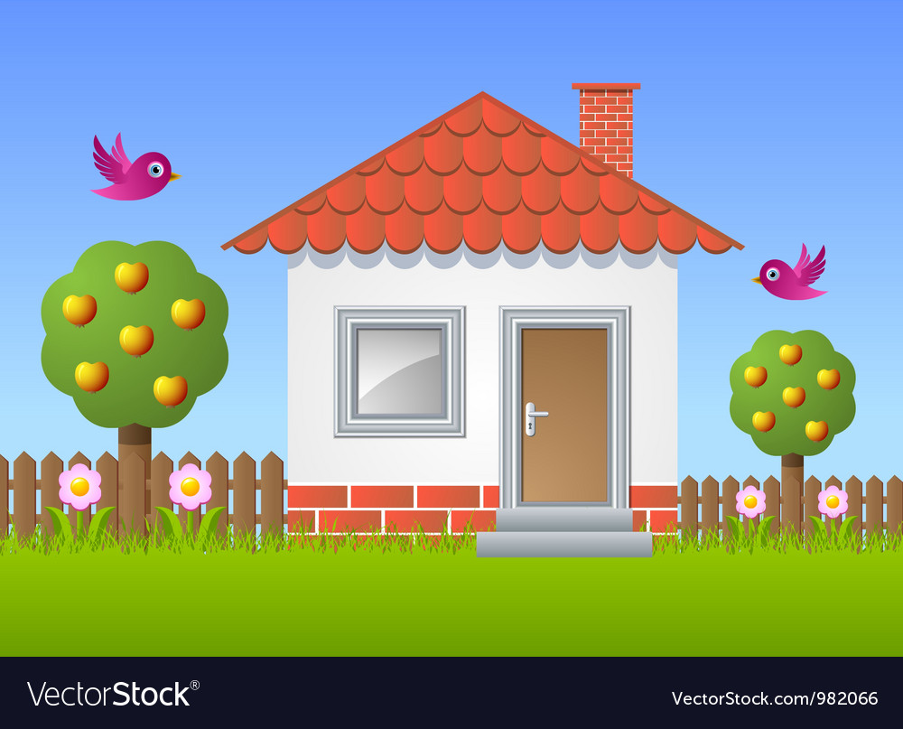 Fruit garden with house vector | Price: 3 Credit (USD $3)