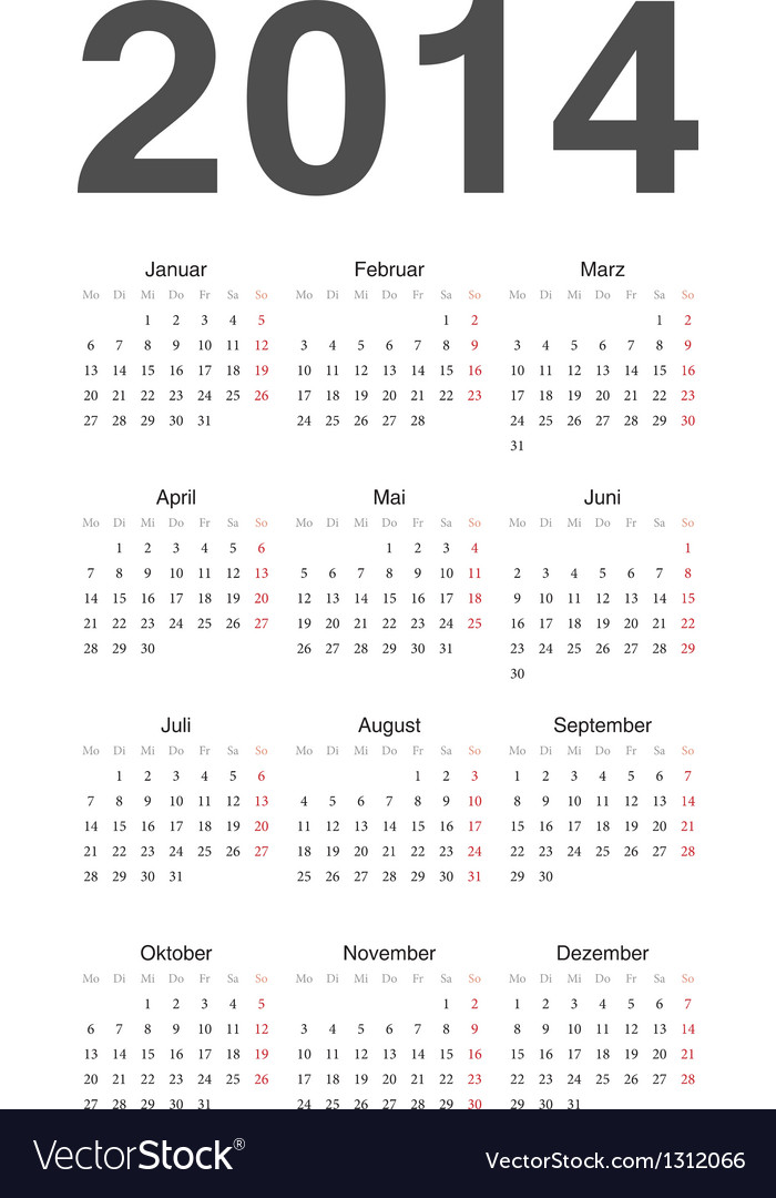 German 2014 year calendar vector