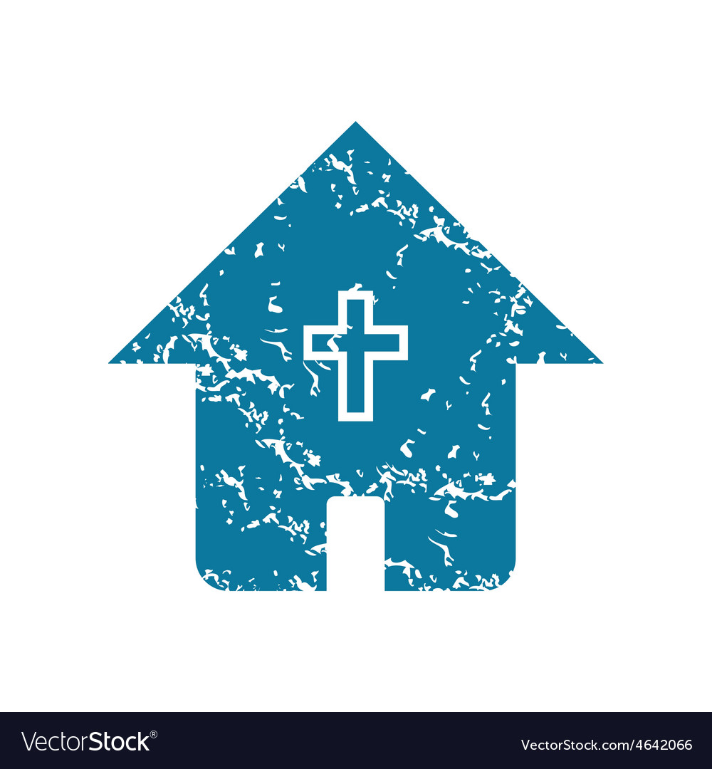 Grunge christian house icon vector | Price: 1 Credit (USD $1)