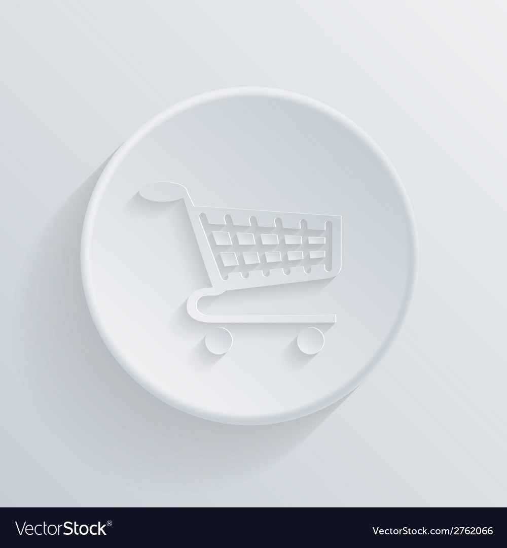 Paper circle flat icon cart online store vector | Price: 1 Credit (USD $1)
