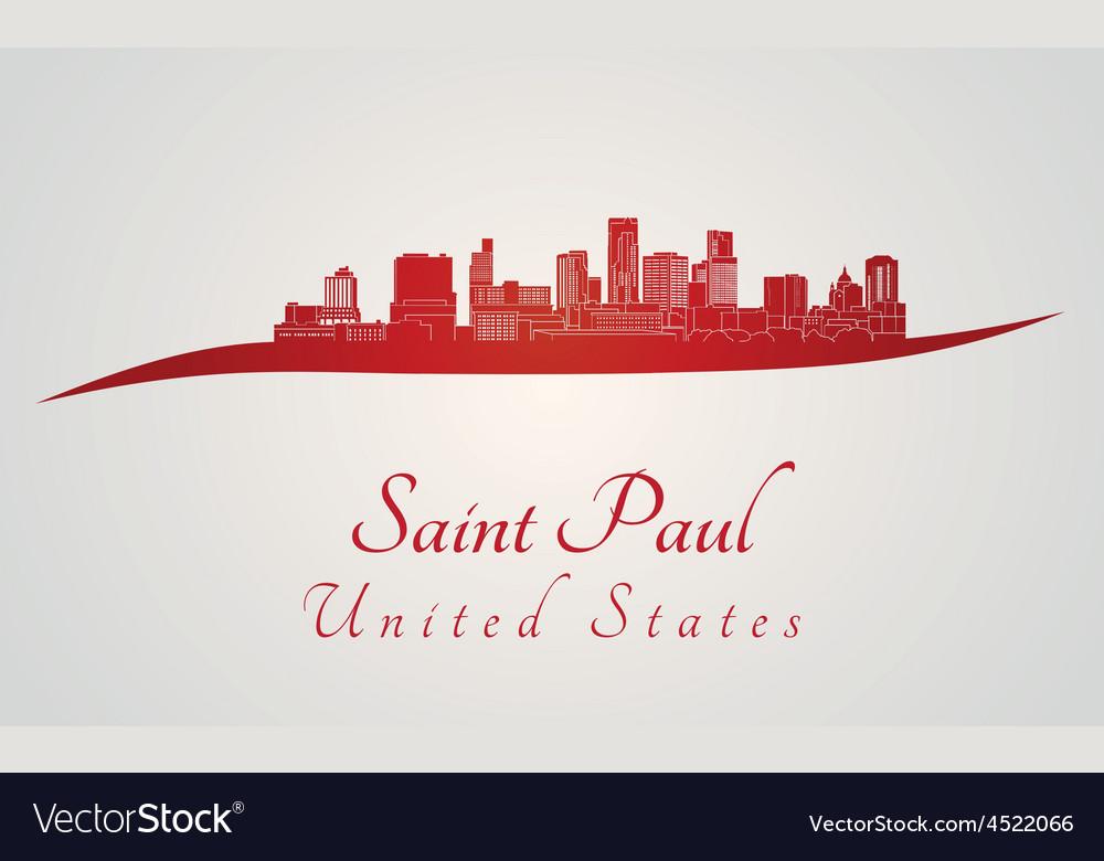 Saint paul skyline in red vector | Price: 1 Credit (USD $1)