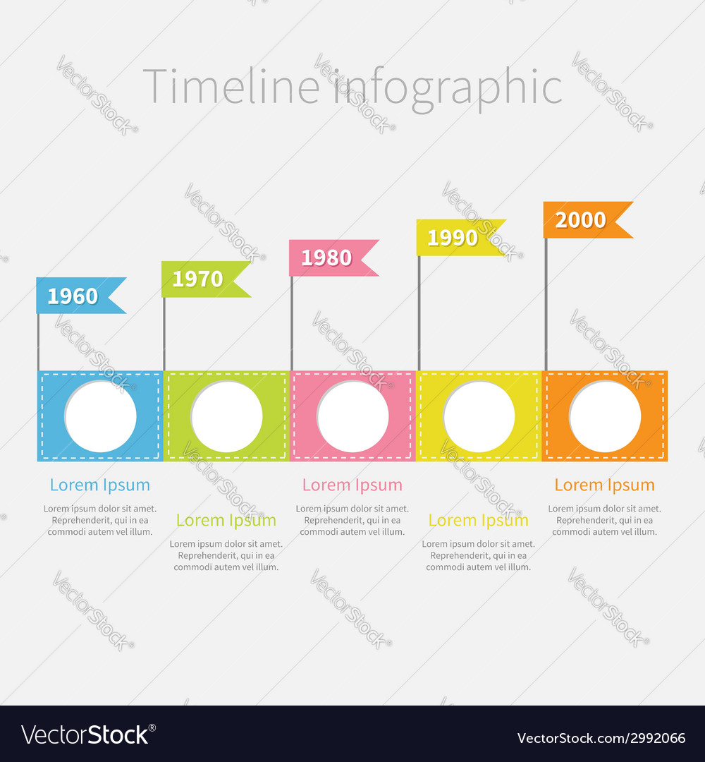 Timeline infographic with empty circles flags text vector | Price: 1 Credit (USD $1)